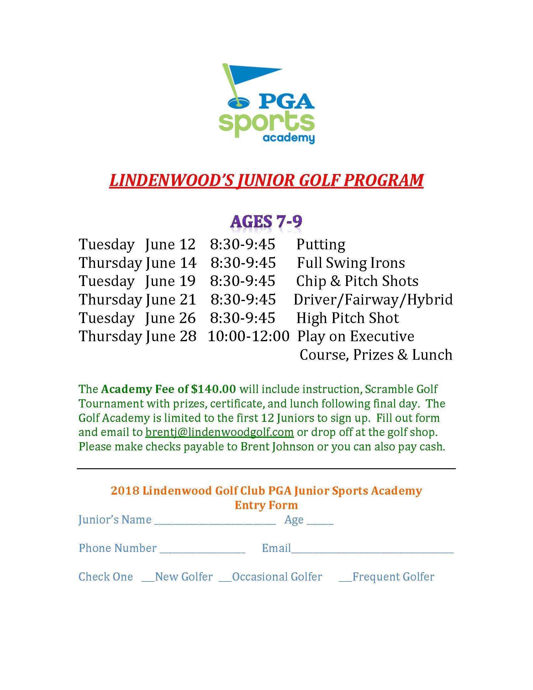 PGA Sports Academy Lindenwood Golf Club Ages 7 9