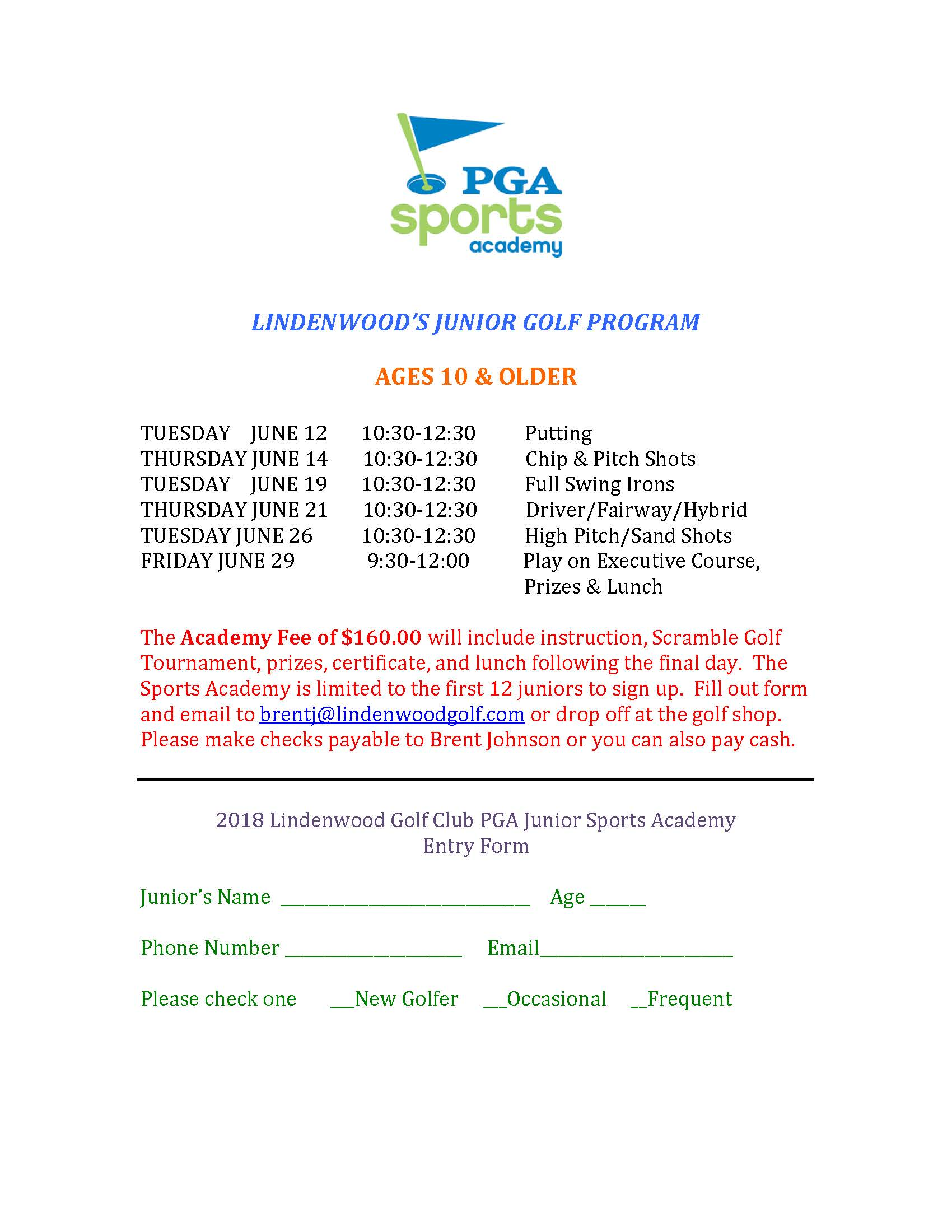 PGA Sports Academy Lindenwood Golf Clubs Junior Golf Ages 10 Older